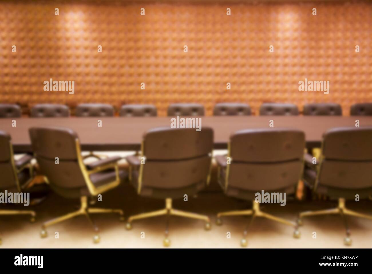Background blur of stylish empty conference room ready for a meeting. - Stock Image