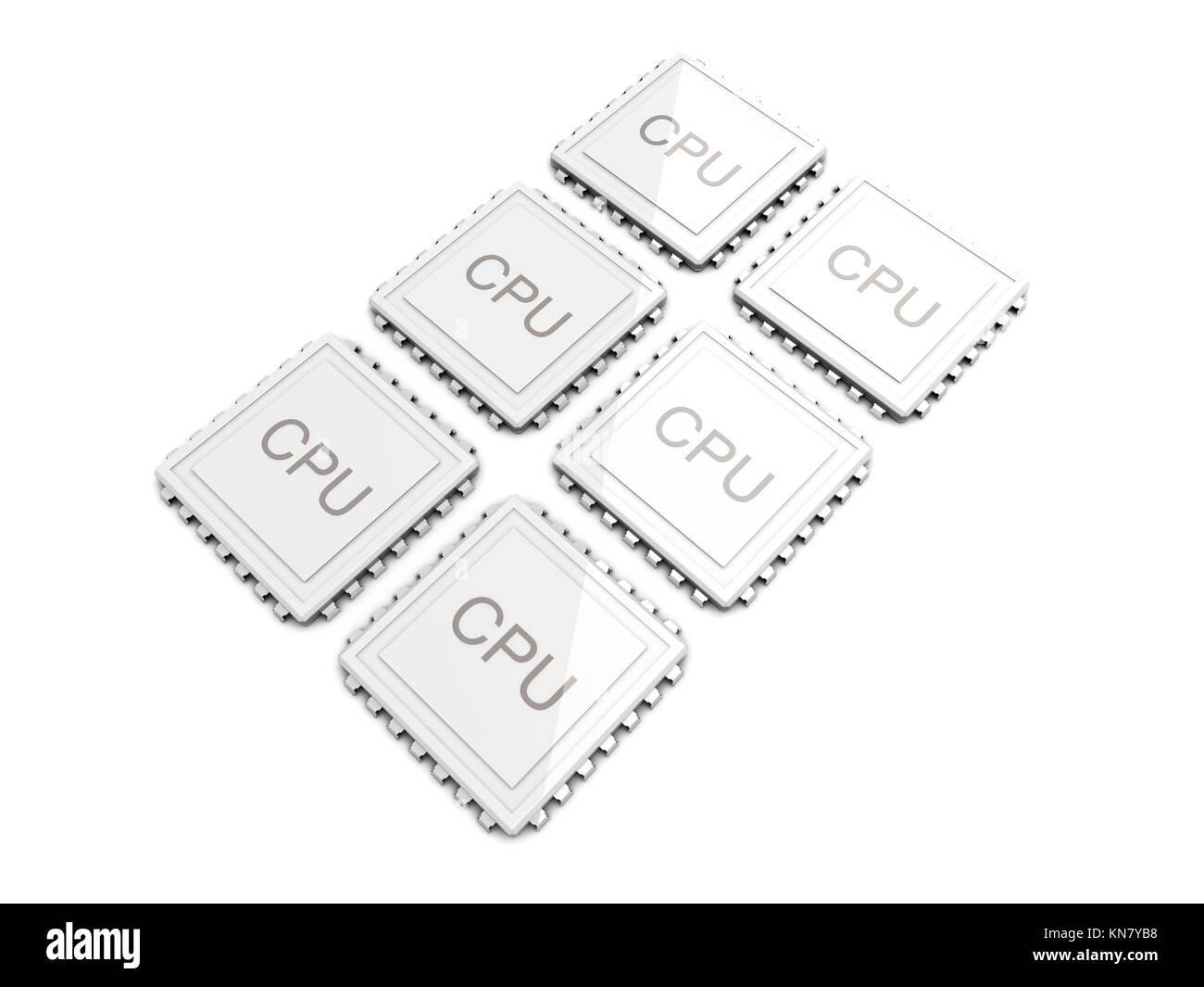 3D rendered Illustration. Six core CPU. Isolated on white. - Stock Image