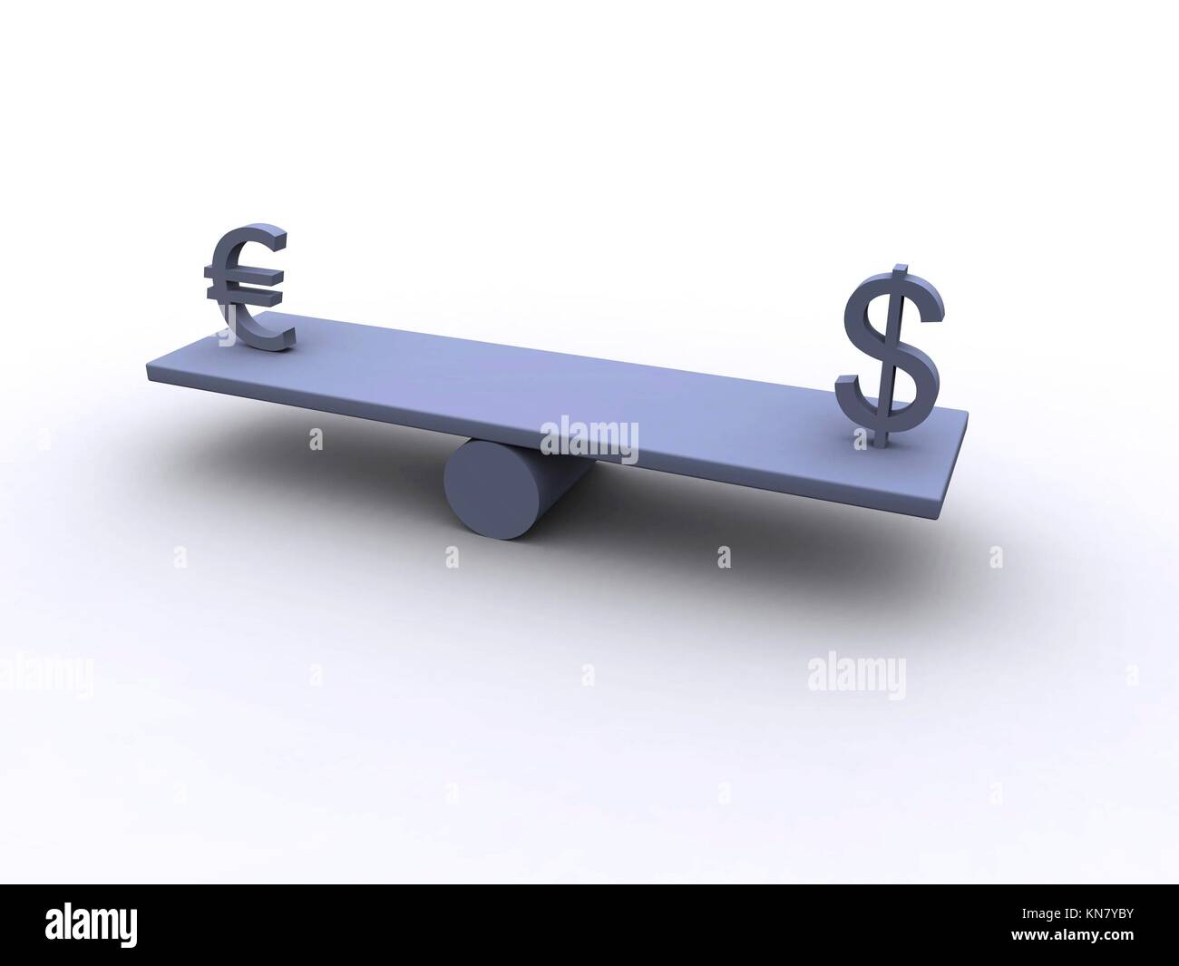 Symbolizing the balance between the Dollar and Euro currency.3D illustration. - Stock Image