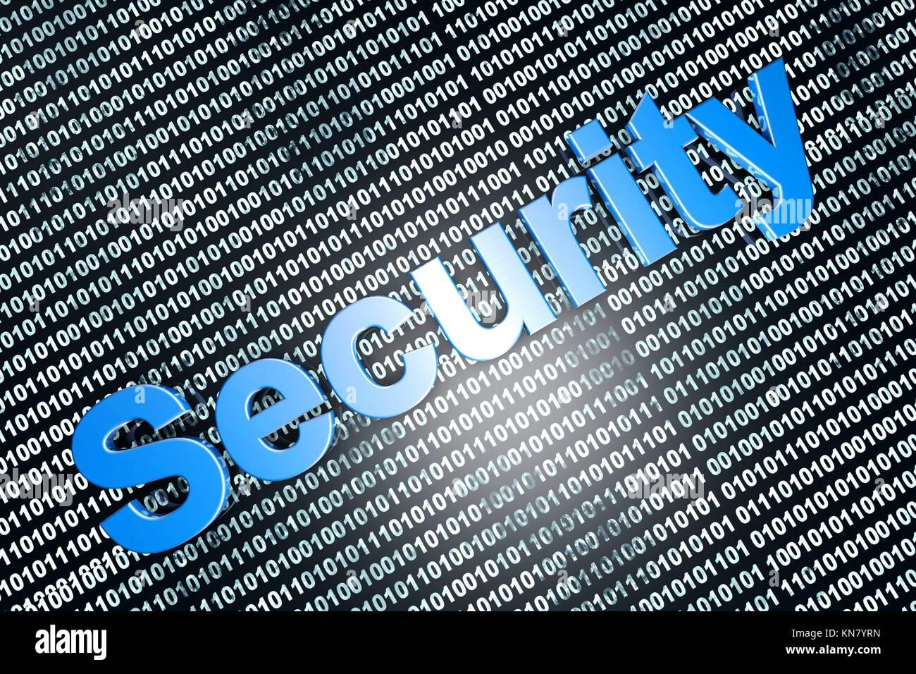 Secure digital data. 3D Illustration. - Stock Image