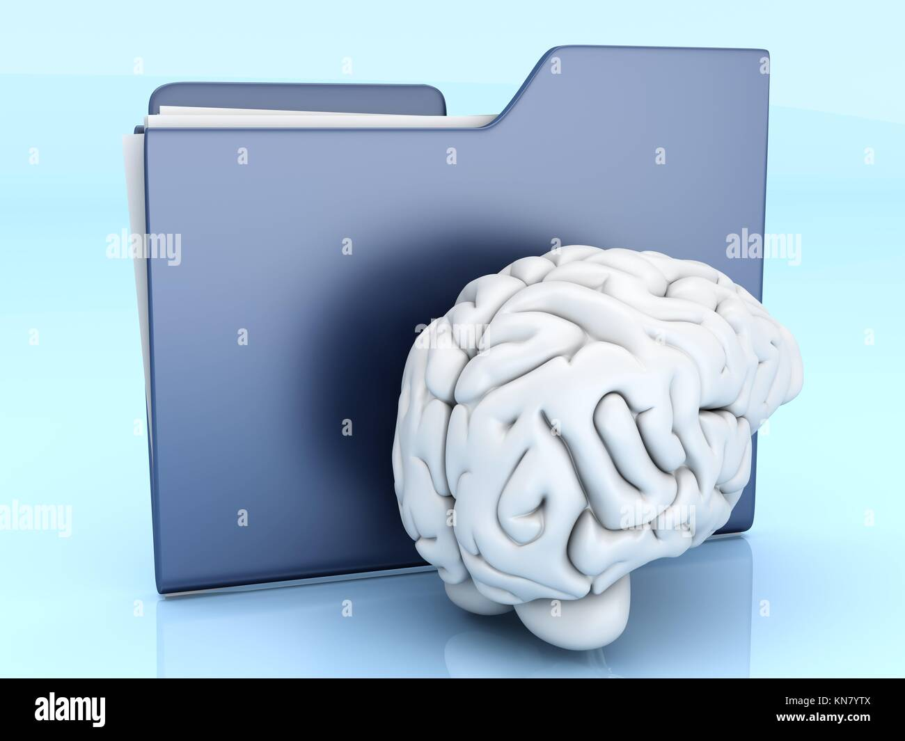 Brain and a Folder. 3D illustration. - Stock Image