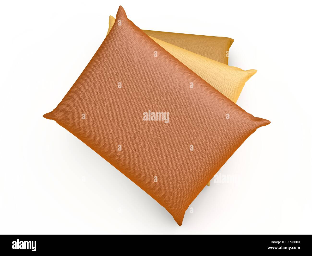 Three Pillows. 3D rendered Illustration. Isolated on white. - Stock Image
