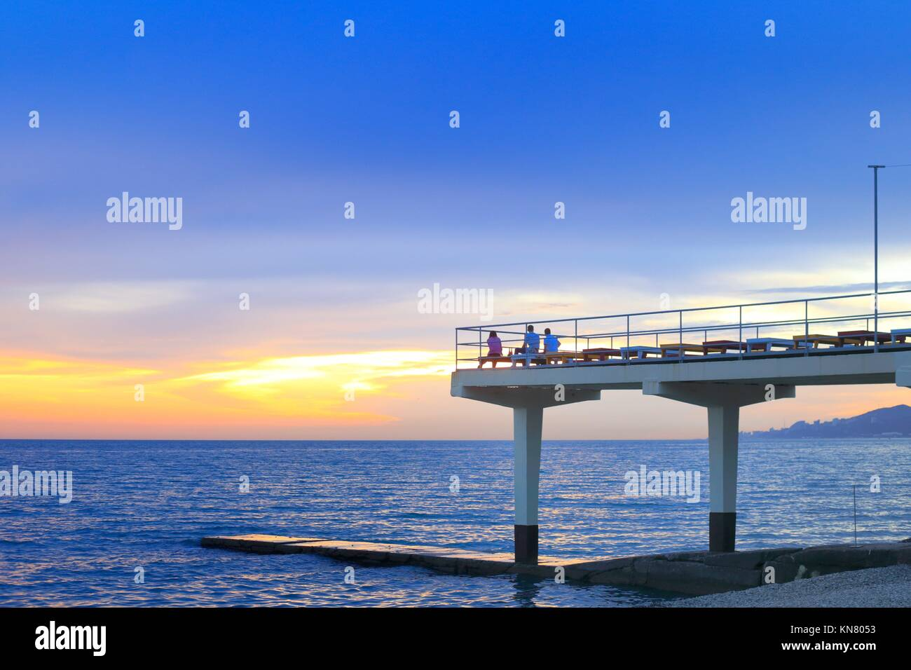Black sea embankment Sochi Russia seashore sky. - Stock Image