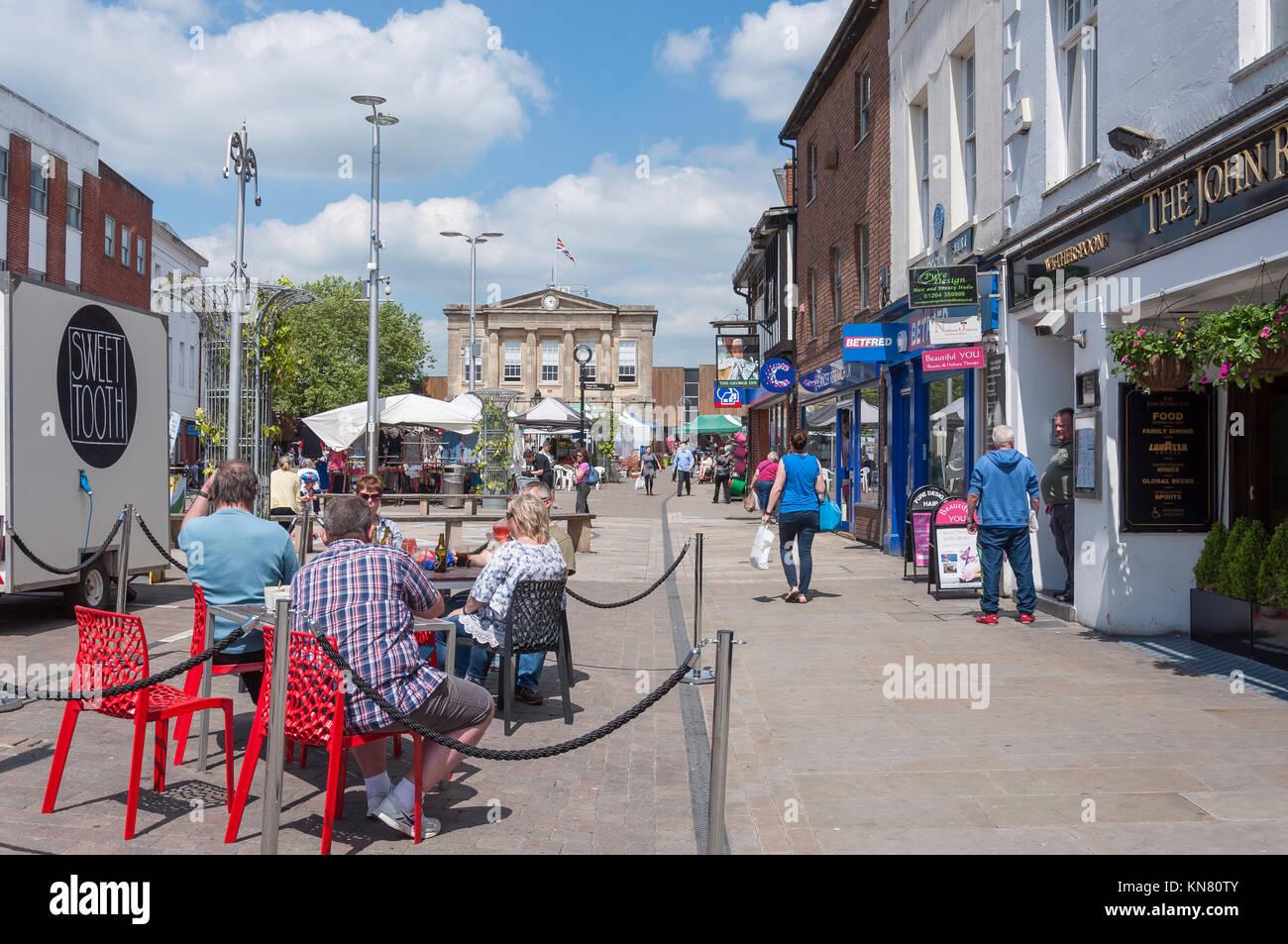 Pedestrianised High Street, Andover, Hampshire, England, United Kingdom - Stock Image
