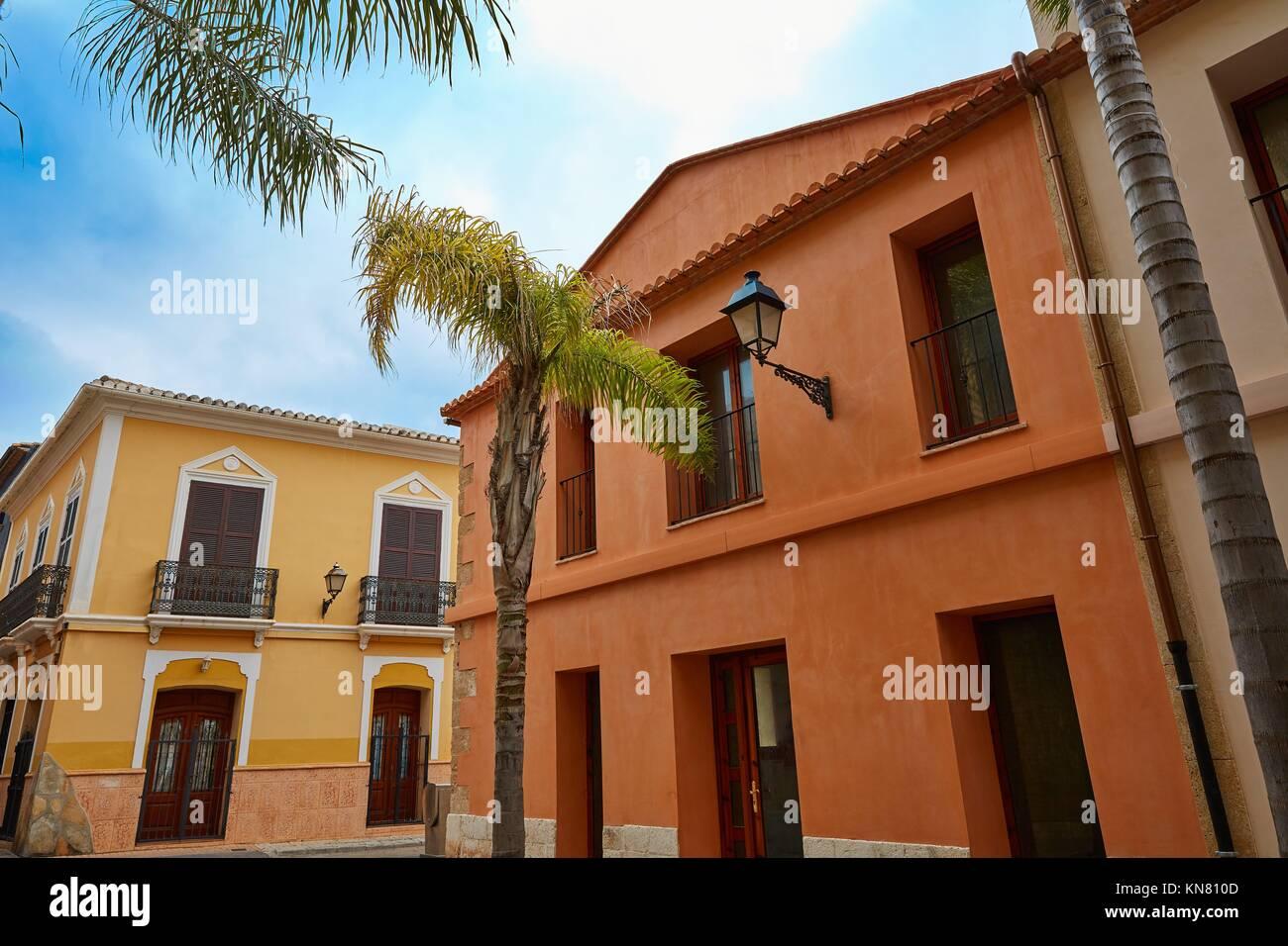 Denia street Loreto facades in Alicante at Mediterranean spain. - Stock Image