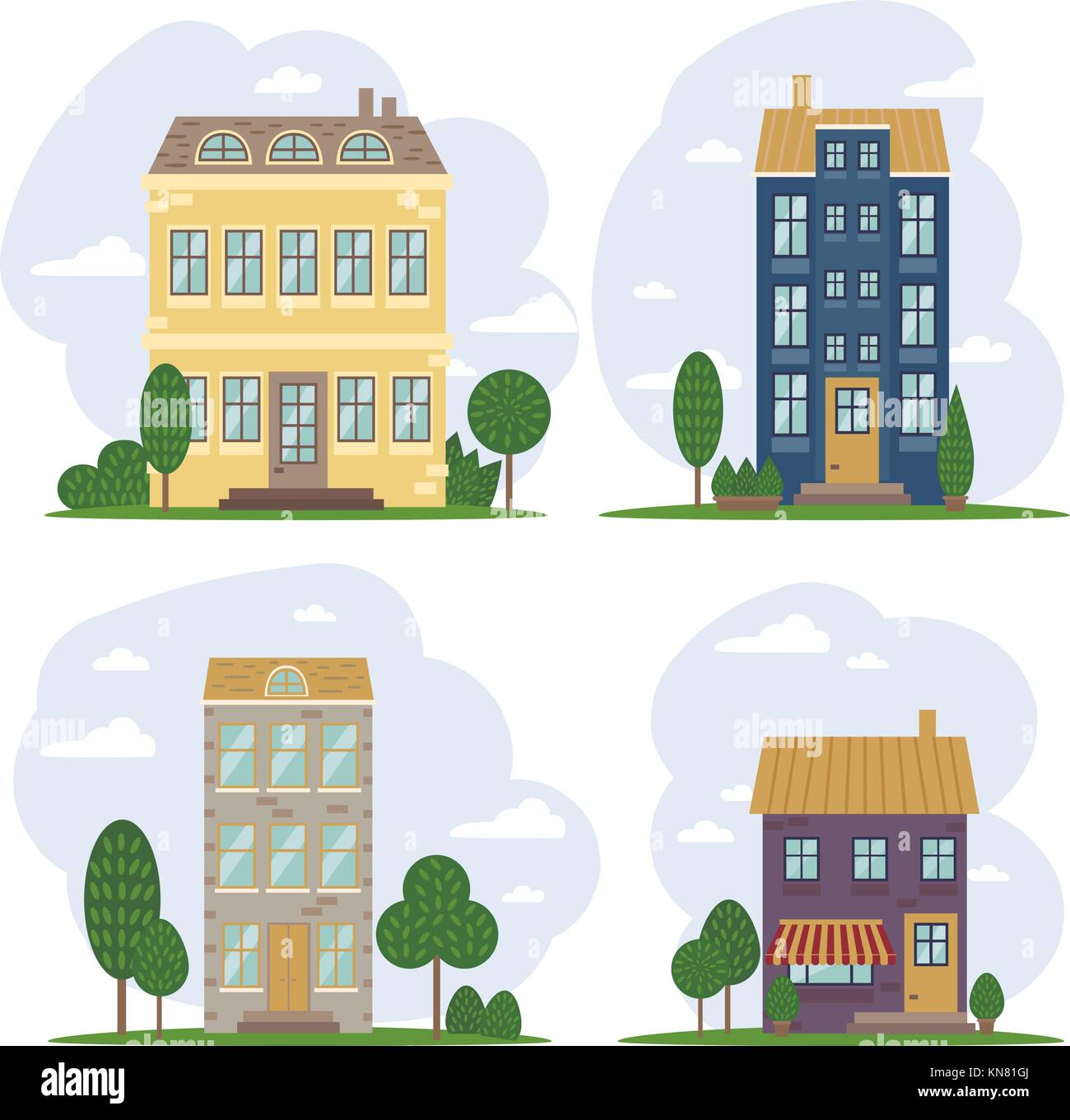 Traditional European architecture, old town houses - Stock Vector