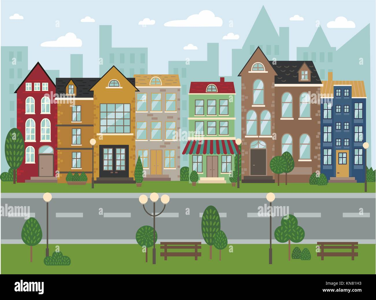 Traditional European architecture, old town street - Stock Vector