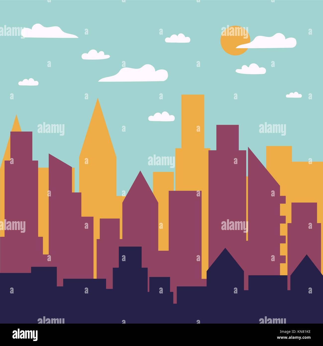 Color day city panorama silhouette. - Stock Vector