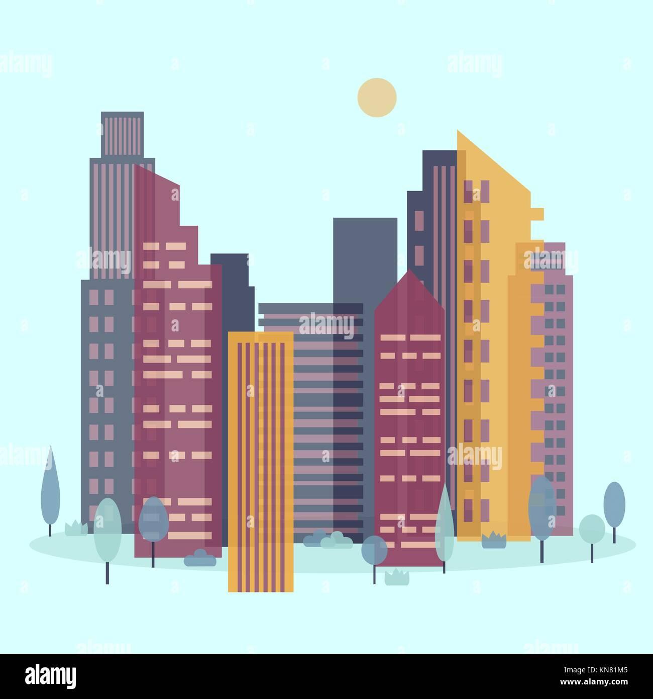 Day cityscape. Skyline with sun - Stock Vector