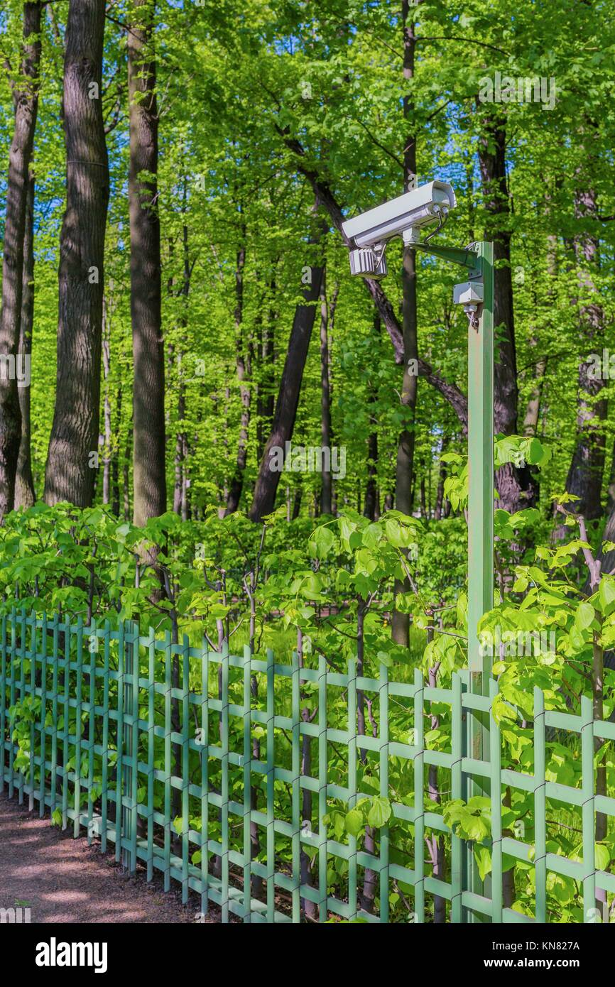 Surveillance camera in green summer park day view. - Stock Image