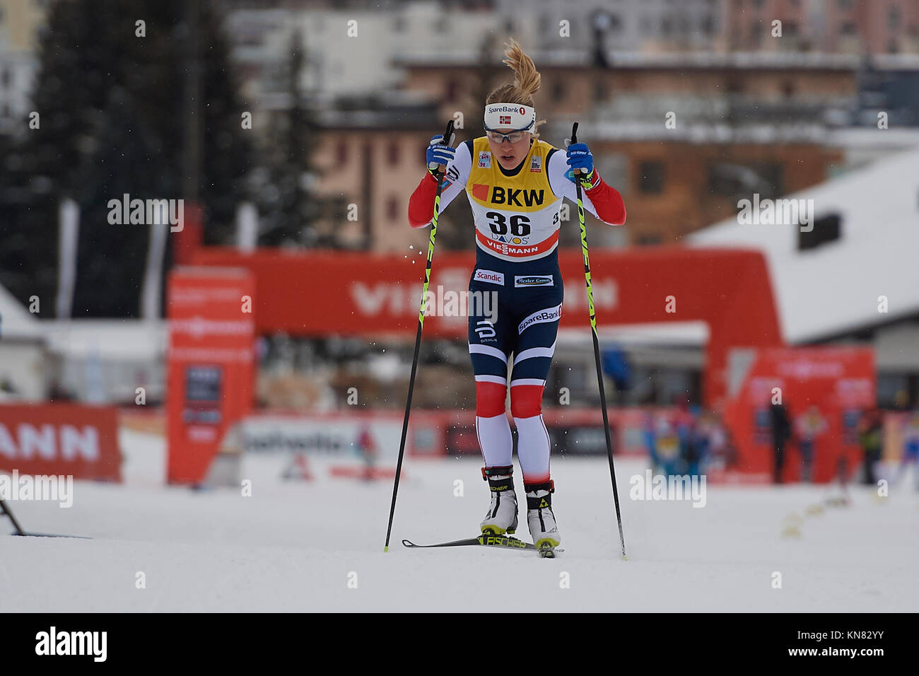 Davos, Switzerland, 10th December 2017. HAGA Ragnhild (NOR) during the Ladies' 10 km F competition at the FIS Cross - Stock Image