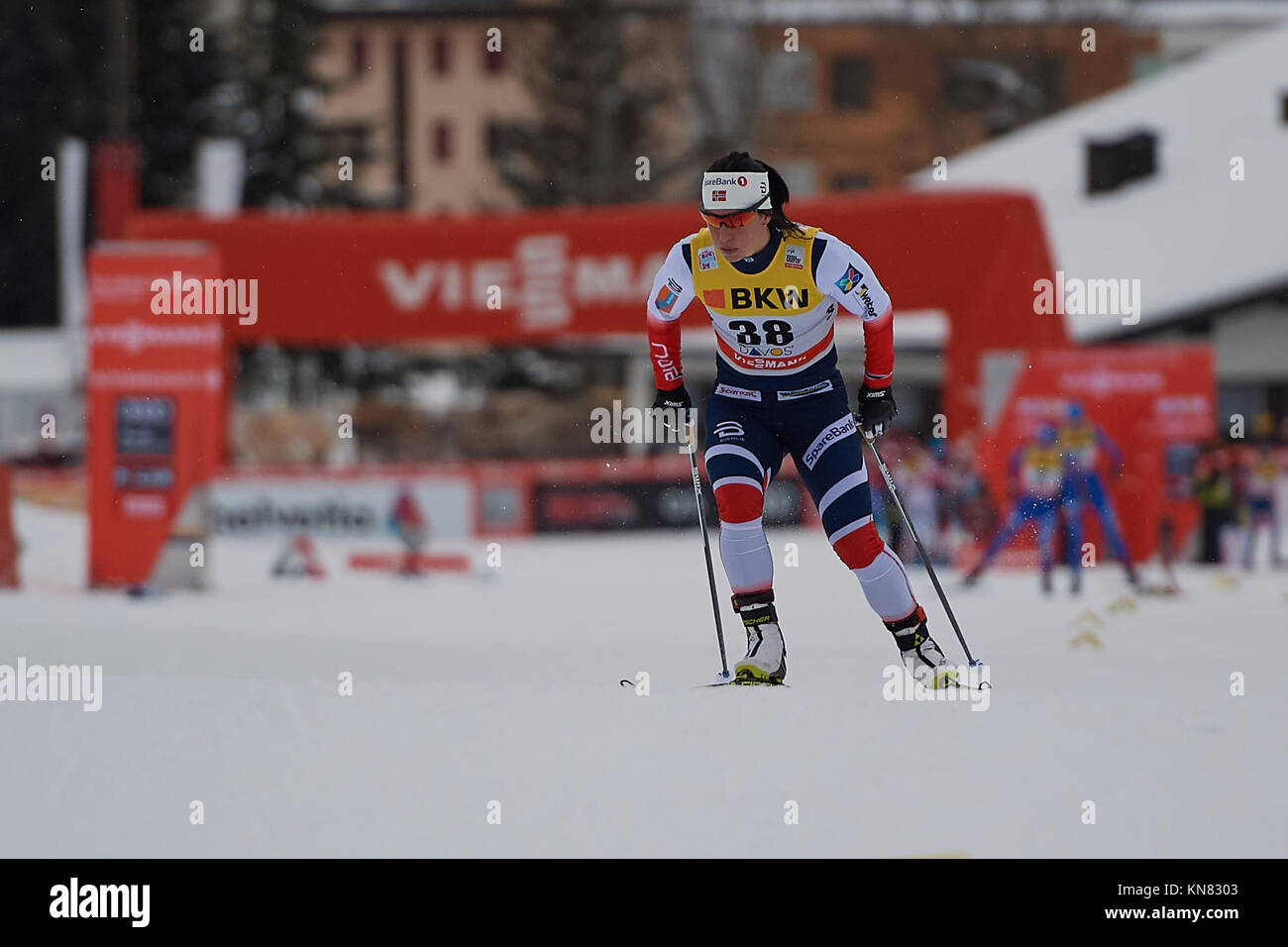 Davos, Switzerland, 10th December 2017. BJOERGEN Marit (NOR) during the Ladies' 10 km F competition at the FIS Cross - Stock Image