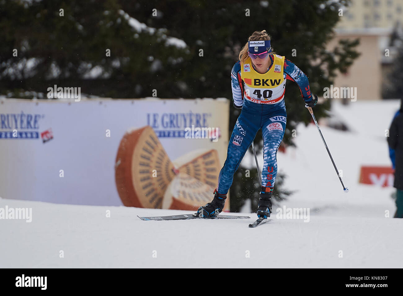 Davos, Switzerland, 10th December 2017. DIGGINS Jessica (USA) during the Ladies' 10 km F competition at the FIS - Stock Image