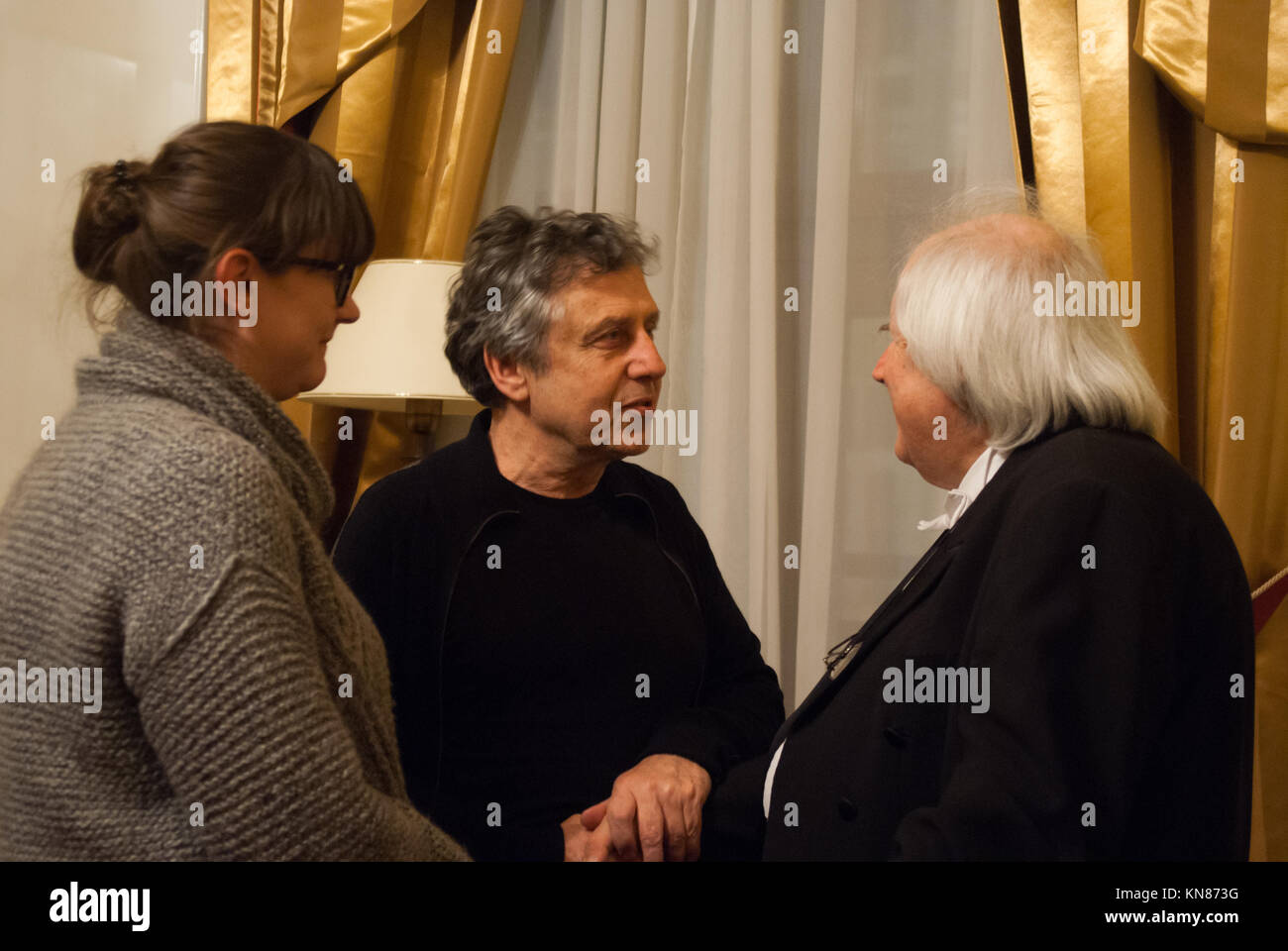 Warsaw, Poland. 10th Dec, 2017. Recognized as a the best living pianist - Grigory Sokolov talks with tonmeisters - Stock Image