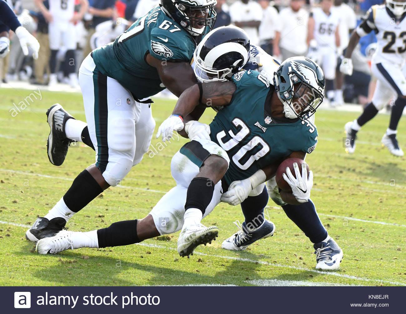 Los Angeles, California, USA. 11th Dec, 2017. Philadelphia Eagles running back Corey Clement (30) runs for yardage - Stock Image