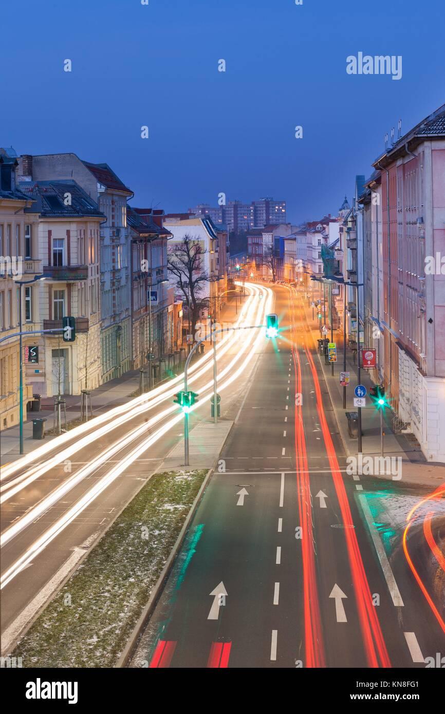 Frankfurt (Oder), Brandenburg, Germany -- Altberesinchen district at dusk. - Stock Image