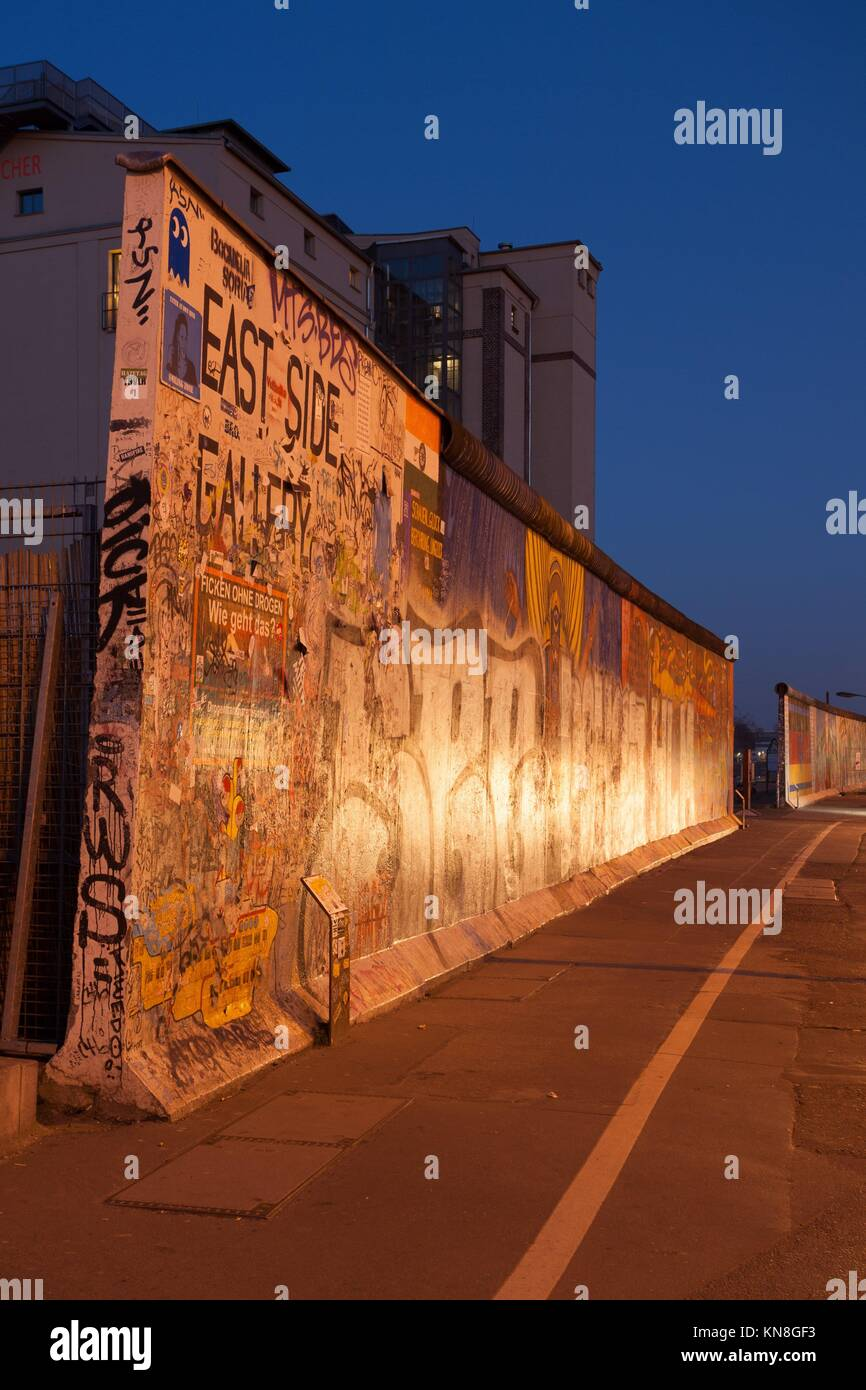 Pieces of the Berlin Wall at the East Side Gallery. - Stock Image