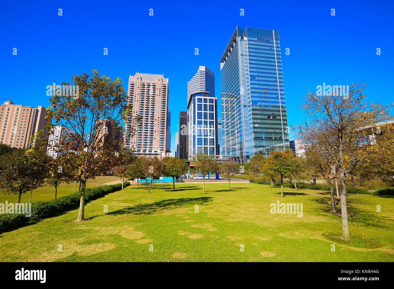 Houston Discovery green park in downtown Texas. Stock Photo