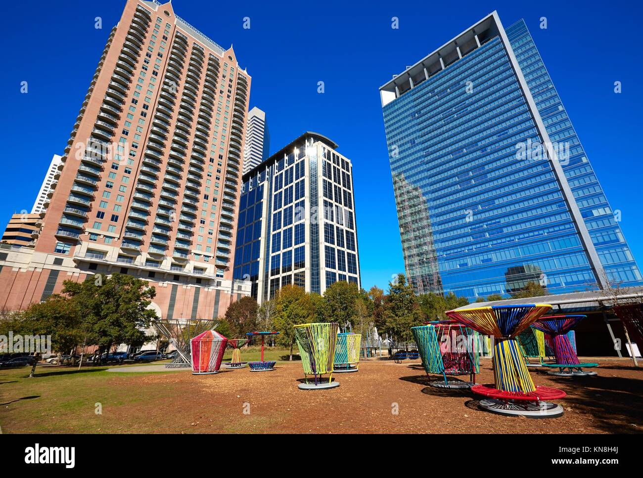 Houston Discovery green park in downtown Texas. - Stock Image