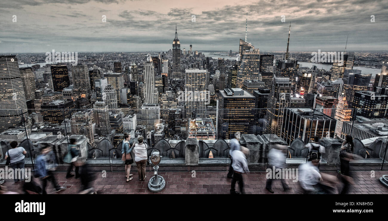 Panoramic view from Rockefeller Center, Big Apple, Empire State building, Skyline, New York, United States of America Stock Photo