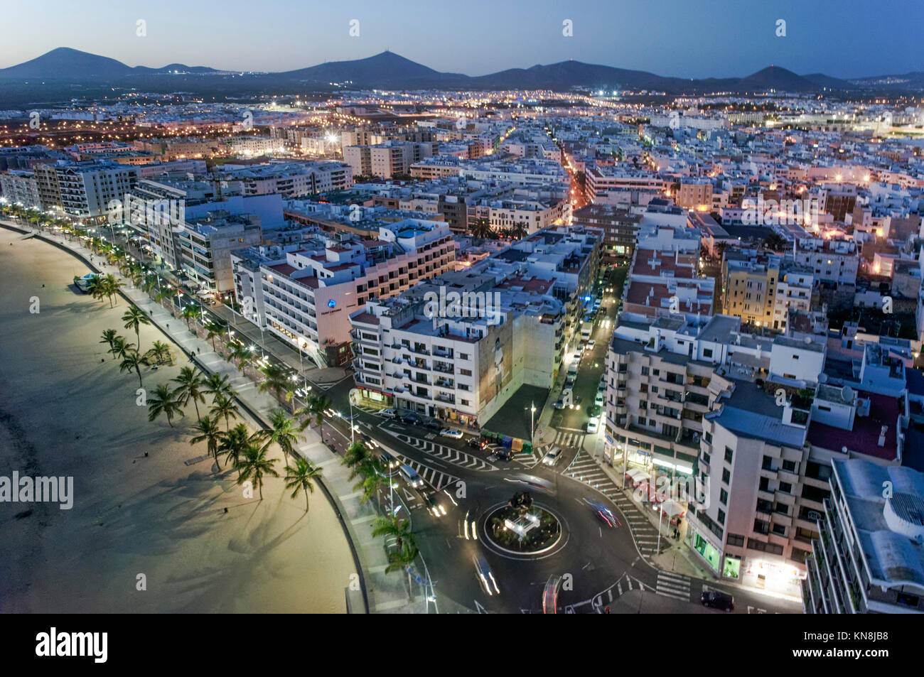 Arrecife, Arial View at twilight, Lanzarote, Canary Islands, Spain - Stock Image
