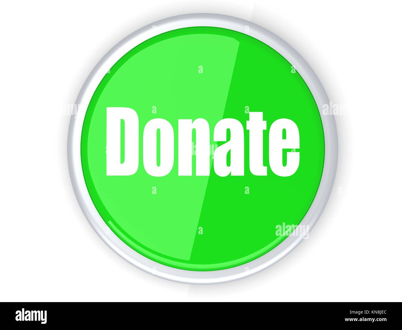 A donate button. 3D rendered illustration. Isolated on white. - Stock Image