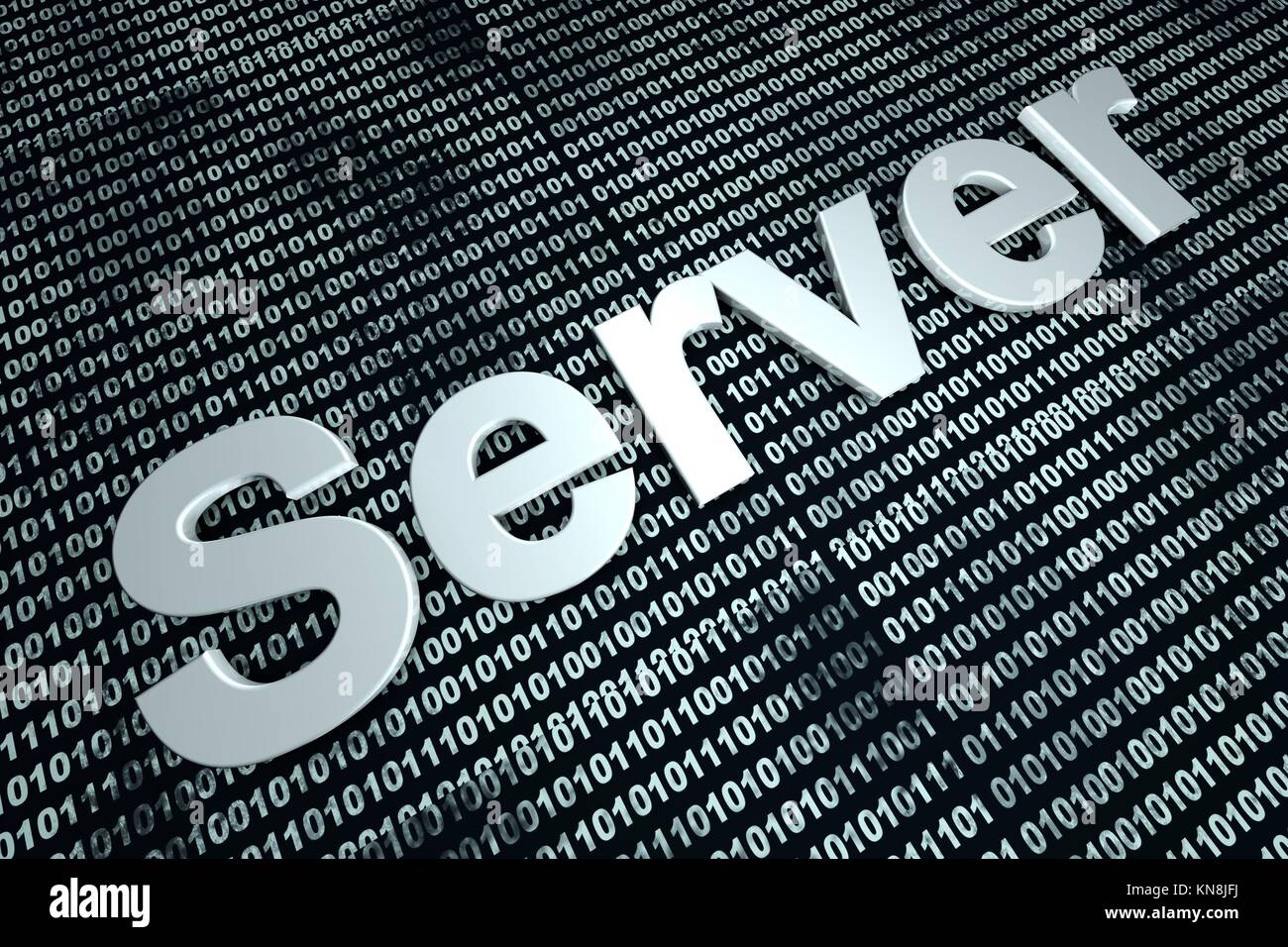 The word server in front of a binary background symbolizing the digital code of software.. - Stock Image