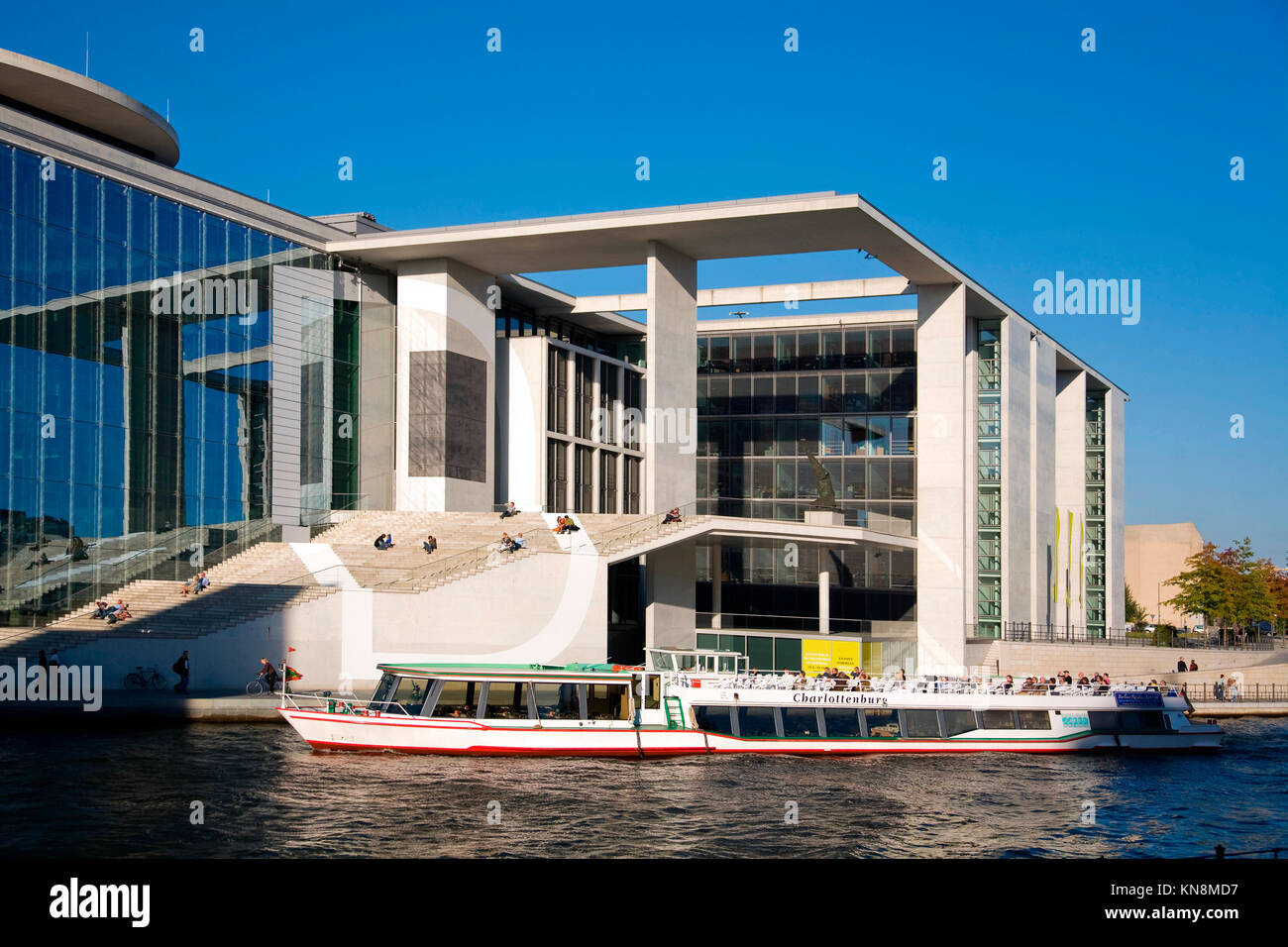 Elisabeth Lueders Haus at river Spree, Tour boat,  Berlin, Germany, - Stock Image