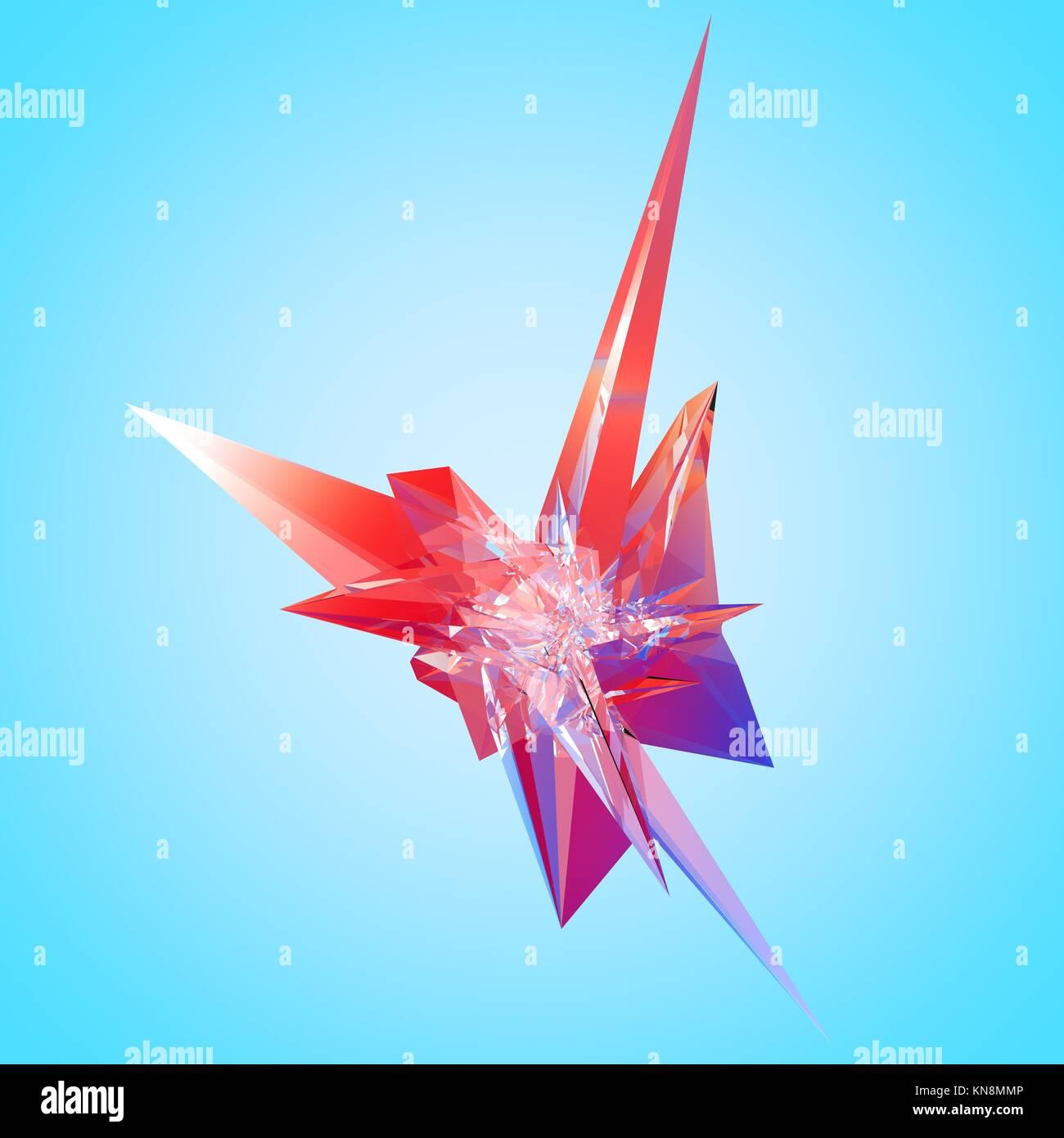 3D illustration of irregular polygonal polyhedron colored object. - Stock Image