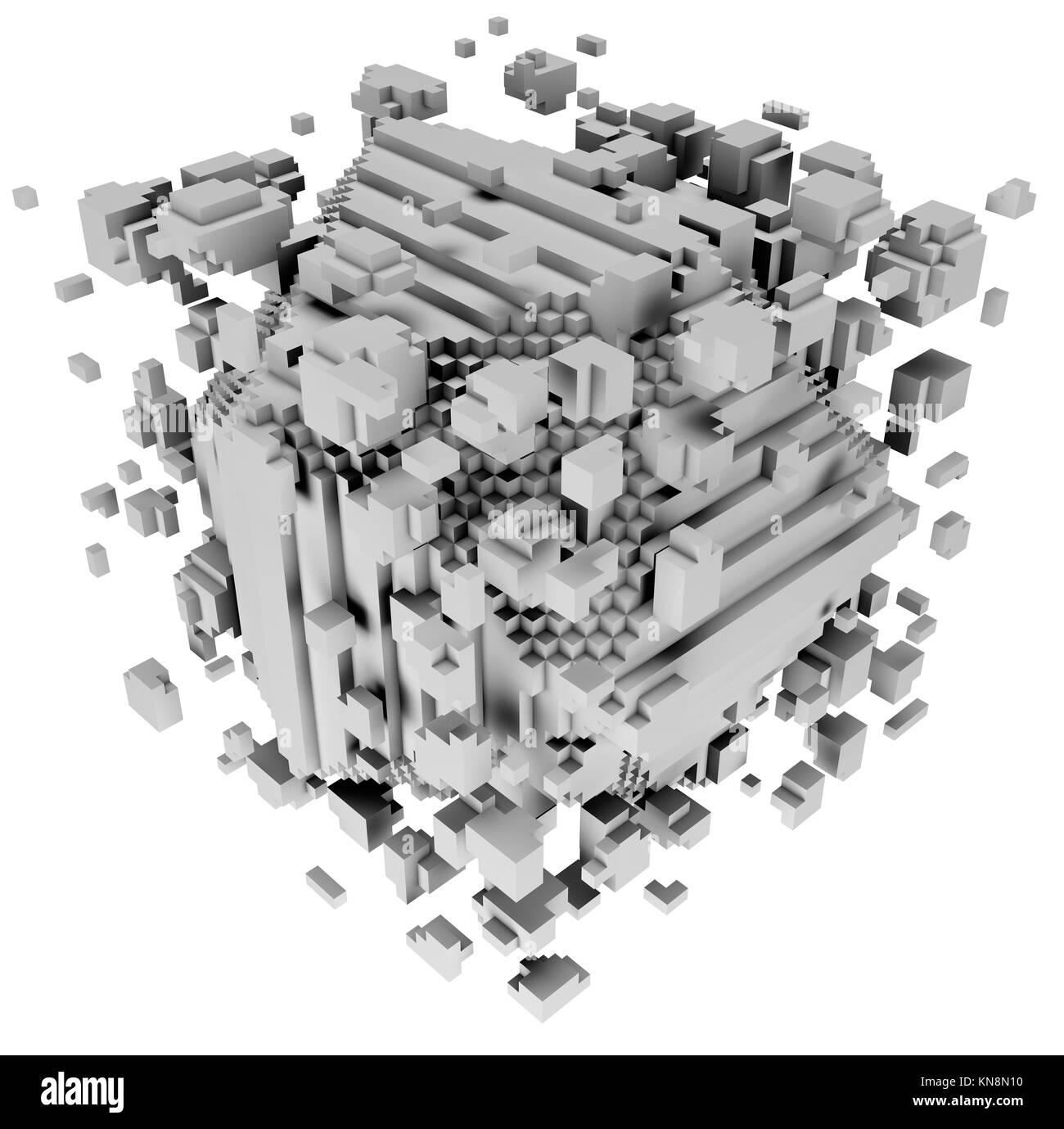 3D illustration of three-dimensional model consist of blocks. - Stock Image
