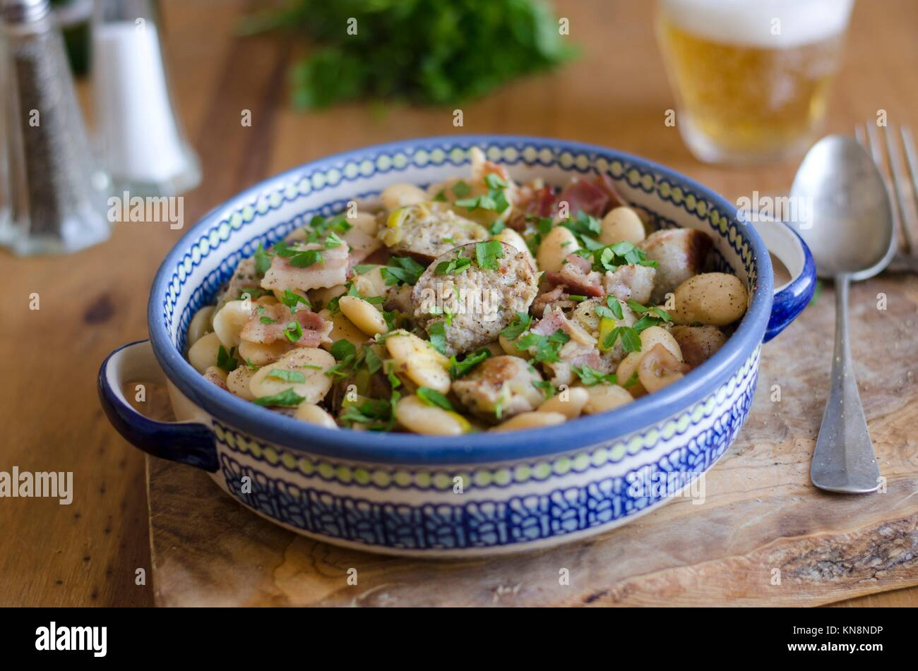 Cumberland sausage and butter bean casserole. - Stock Image