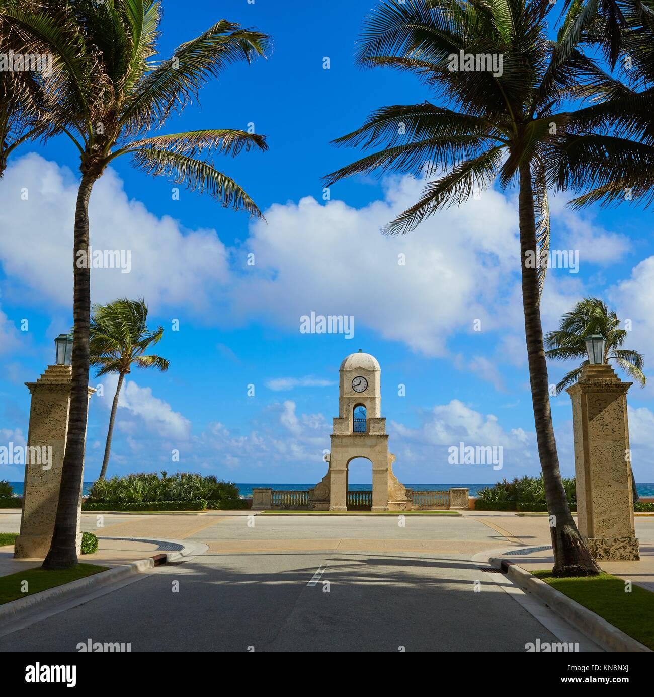 Palm Beach Worth Avenue clock tower Florida USA. Stock Photo
