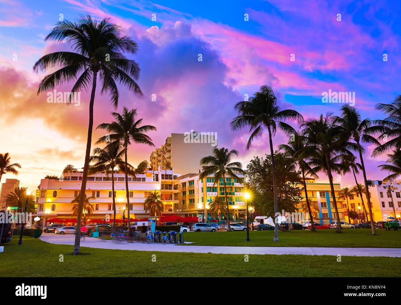 Miami Beach South Beach sunset in Ocean Drive Florida Art Deco. - Stock Image