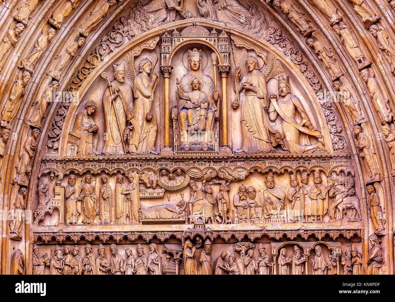 Saint Anne Door Biblical Statues Virgin Mary Baby Jesus Bishop Angels Notre Dame Cathedral Paris France. Notre Dame Stock Photo