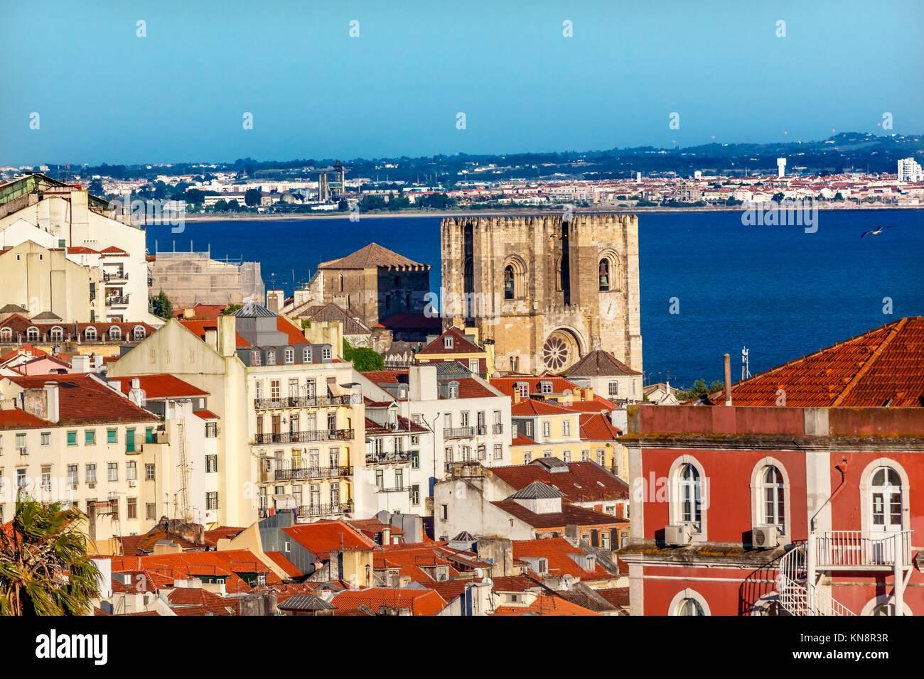 Belevedere Miradoura de Sao Pedro de Alcantara Outlook Cathedral Houses Harbor Lisbon Portugal. - Stock Image