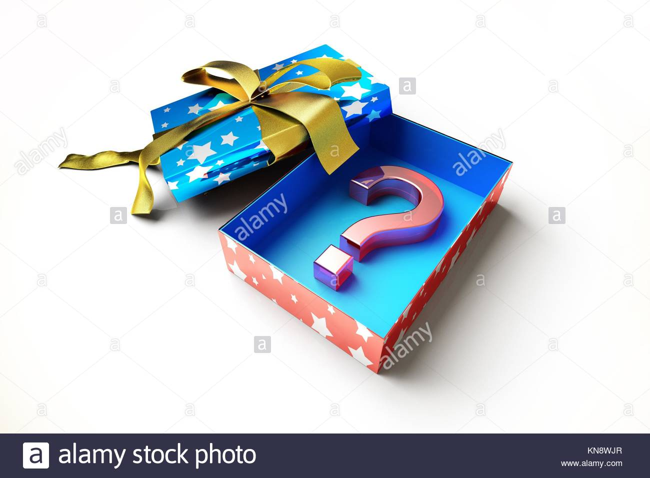 Opened gift box with golden ribbon, with a question mark symbol inside, made of red plastic. On white surface. - Stock Image