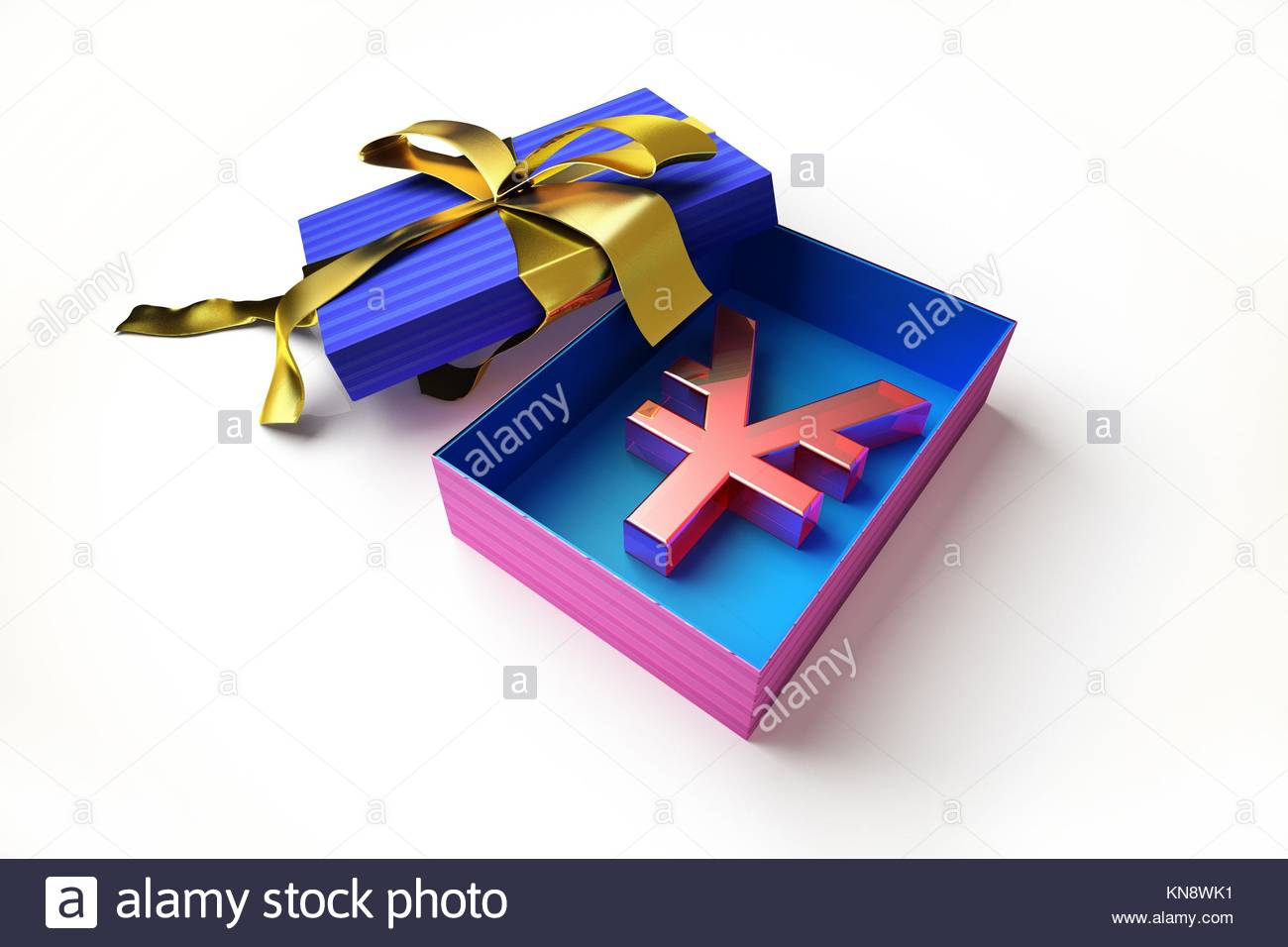 Opened gift box with golden ribbon, with the yen symbol inside, on white surface. - Stock Image