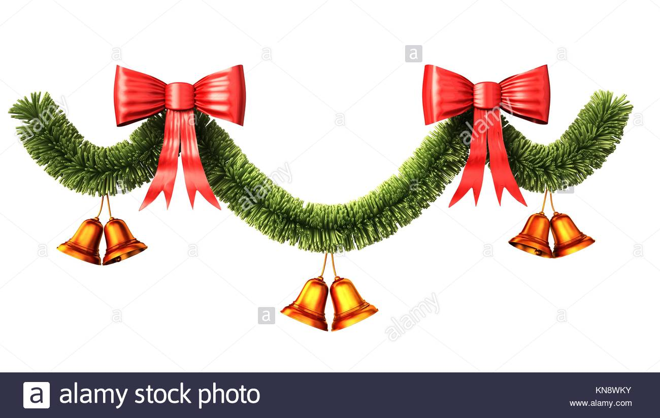Christmas and new year decoration, made by fir twig, ribbons and bells. Clipping path included. - Stock Image