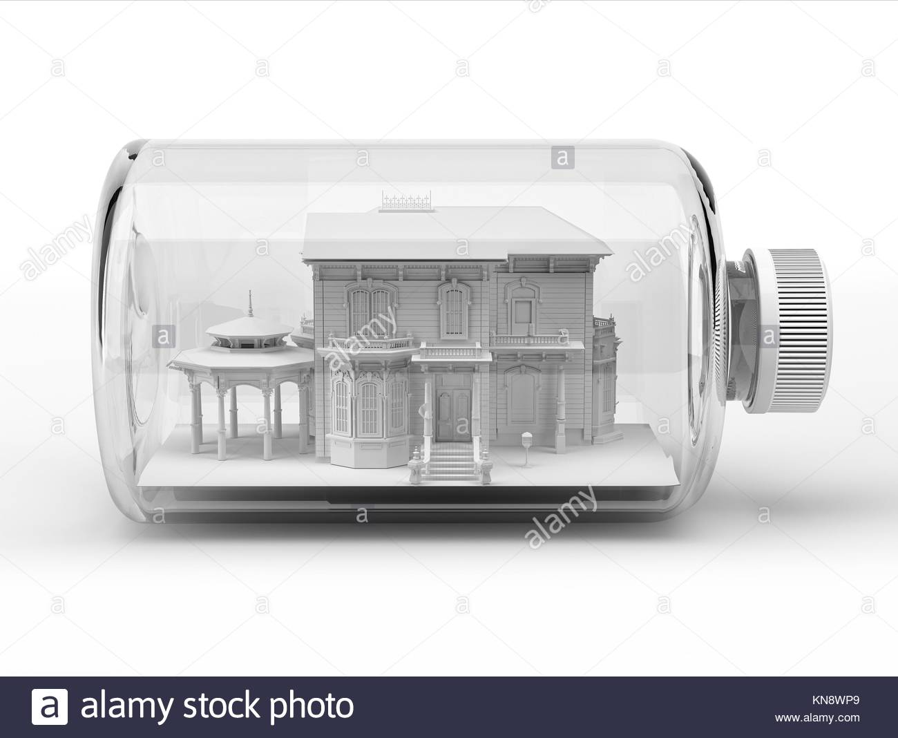 Victorian beautiful house, inside a bottle, on white background. Clipping path included. - Stock Image