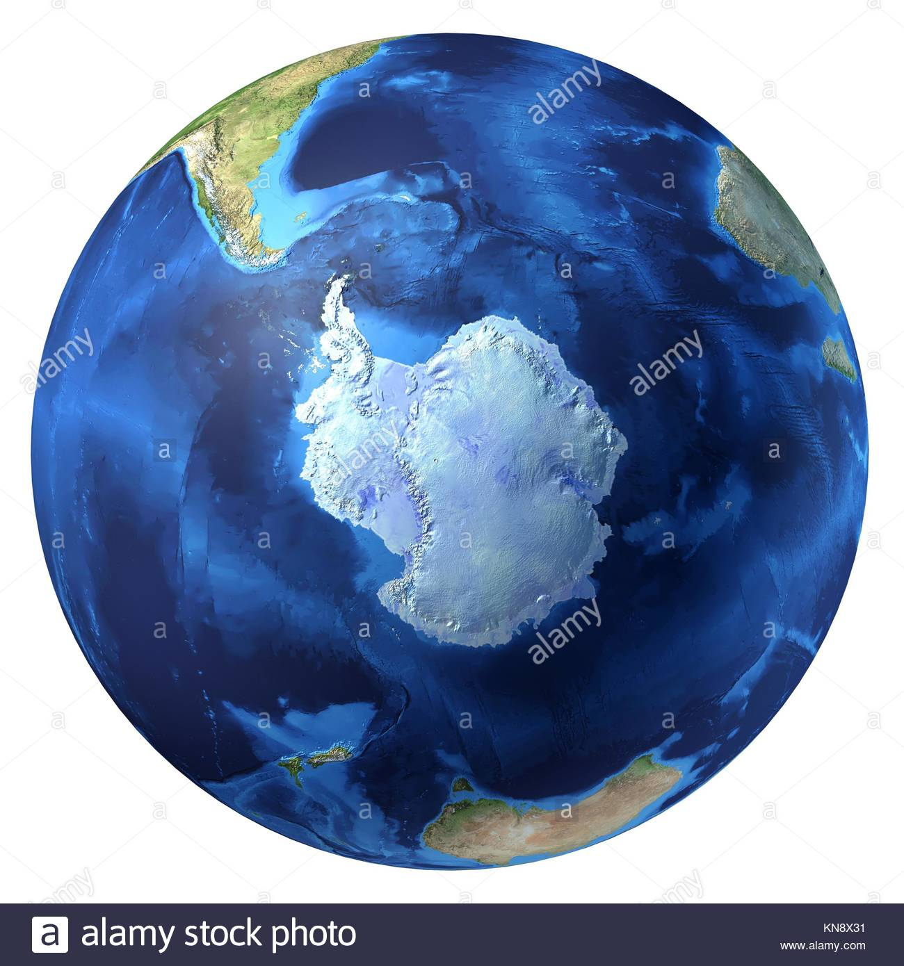 Earth globe, realistic 3 D rendering. Antarctic (south pole) view. On white background. - Stock Image