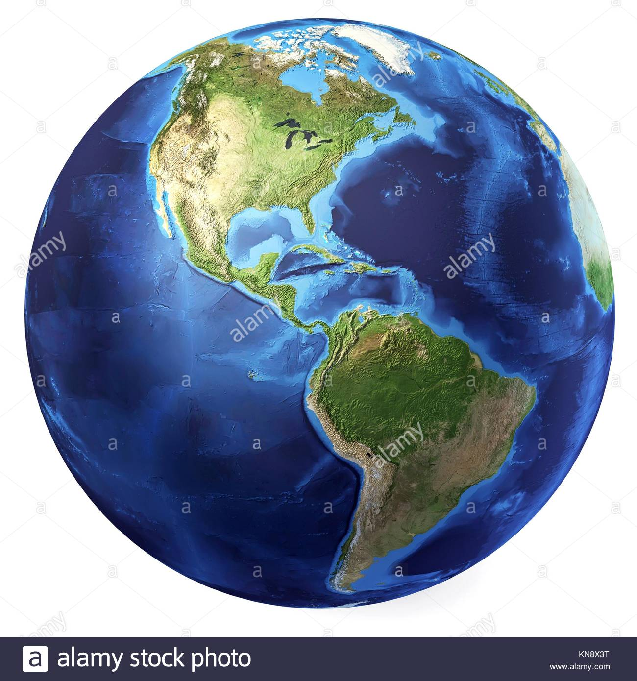 Earth globe, realistic 3 D rendering. Americas North and south view. On white background. - Stock Image
