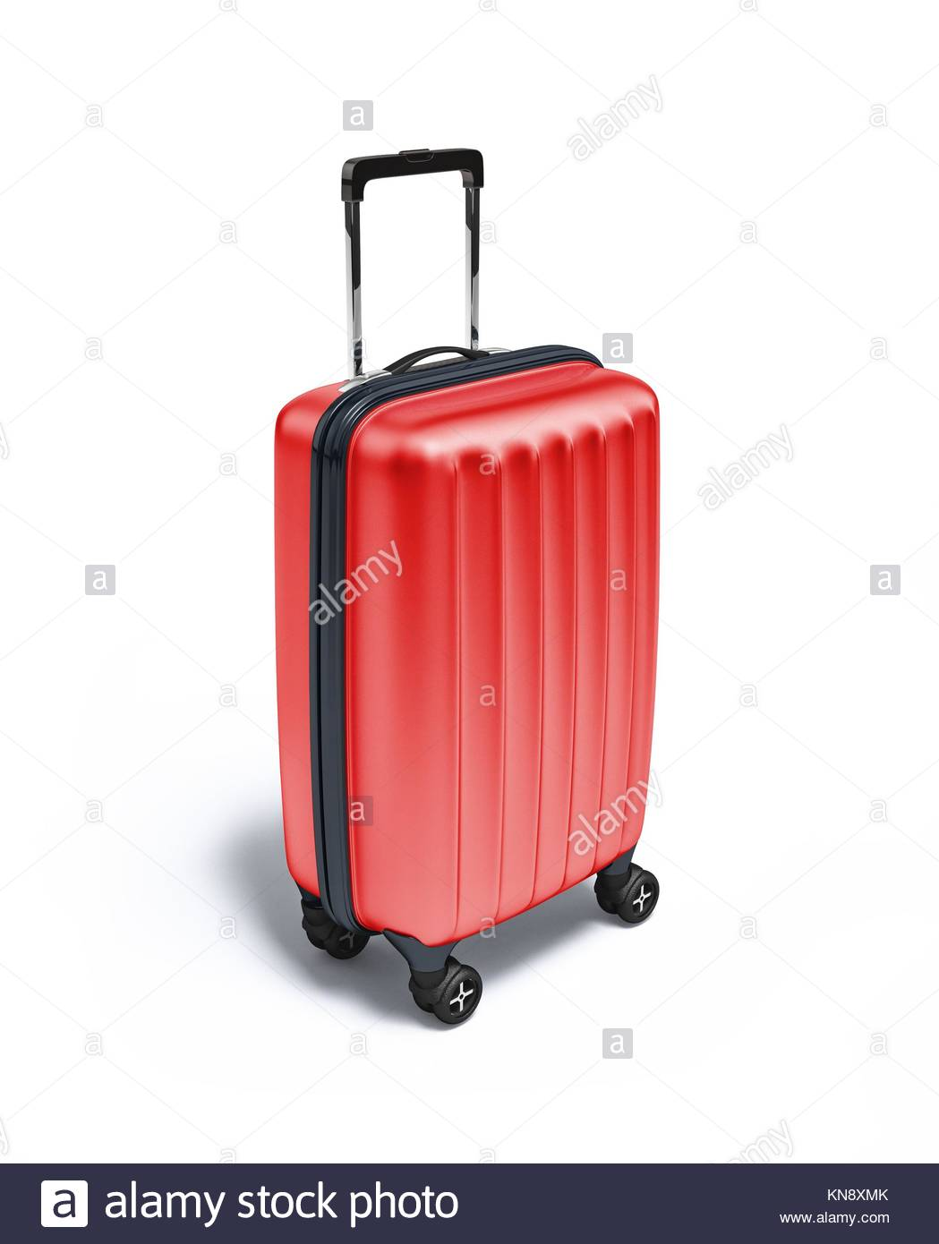 Red Travel suitcase on wheels, on white background. With clipping path included. - Stock Image