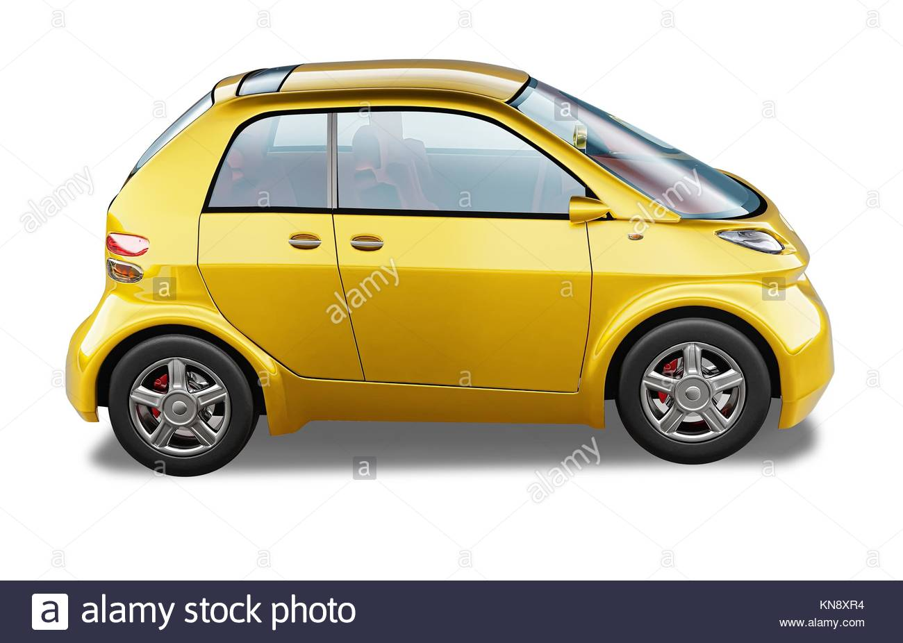 Yellow modern generic small city car. On white background, with clipping path. - Stock Image