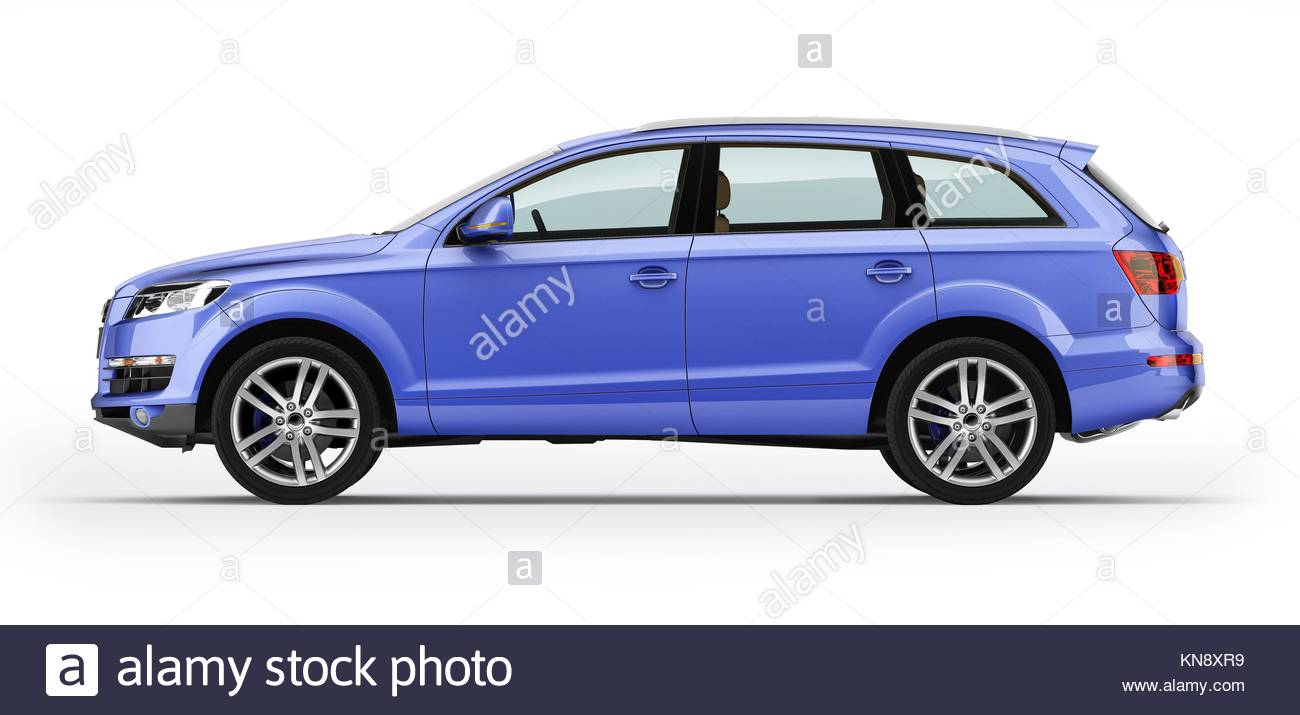 Blue car, luxury SUV. Isolated on white background. With clipping path icluded. - Stock Image