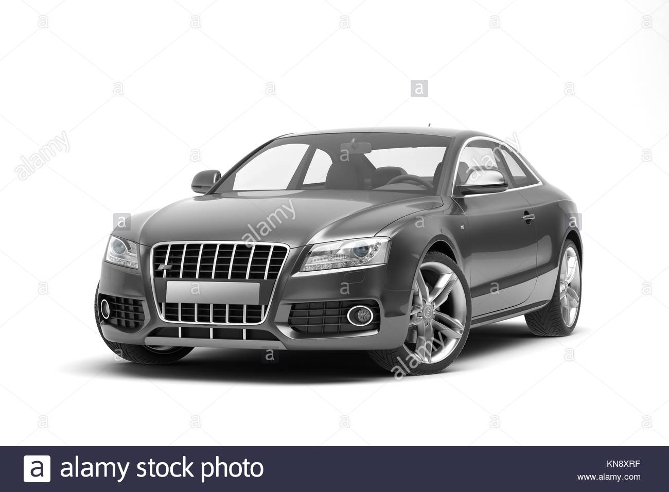 Black sport coupe car, on white beckground. - Stock Image