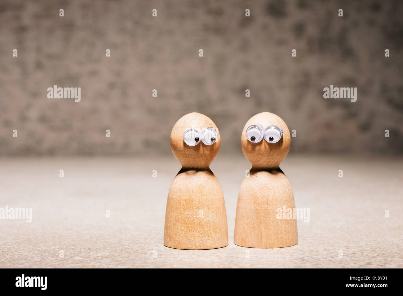 Partnership couple symbol. Concept of relationship problem, worried partner and separation support. - Stock Image