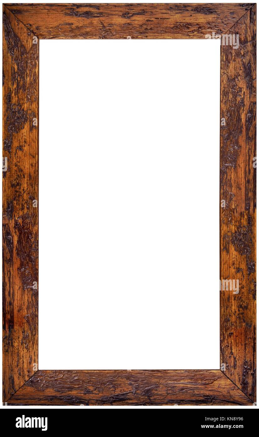 Vertical Wooden Picture Frame Isolated on White Background. Stock Photo