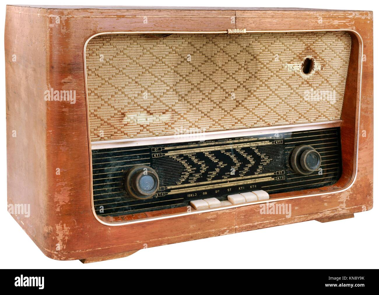Old Obsolete Wooden Radio Cutout. - Stock Image