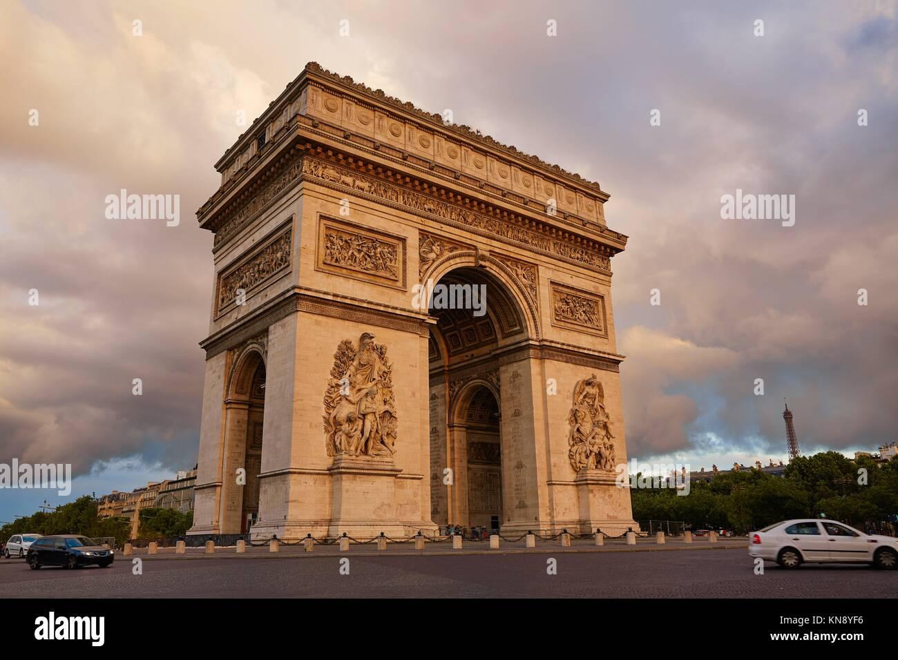 Arc de Triomphe in Paris Arch of Triumph sunset at France. - Stock Image