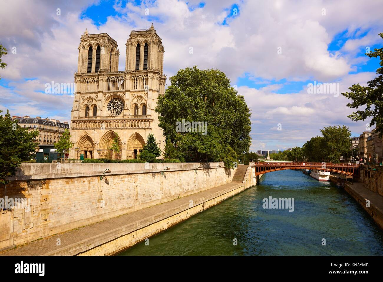 Notre Dame cathedral in Paris France French Gothic architecture. Stock Photo